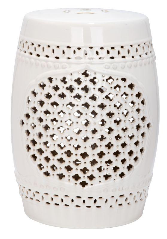 Safavieh ACS4506 Quatrefoil Ceramic Garden Stool Cream Home Decor