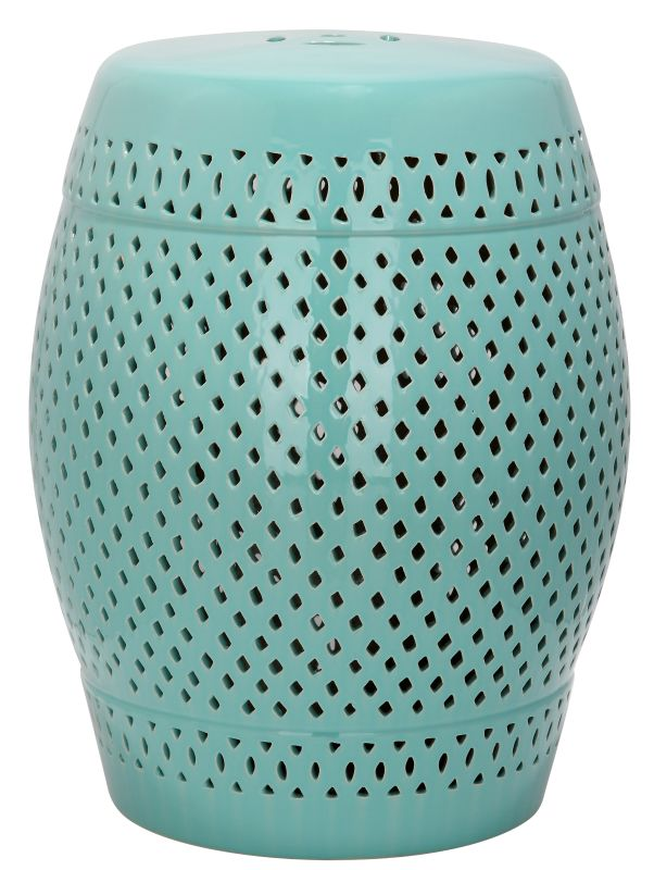 Safavieh ACS4507 Diamond Ceramic Garden Stool Robins Egg Blue Home