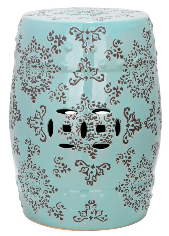 Safavieh ACS4512 Medallion Ceramic Garden Stool Robins Egg Blue Home