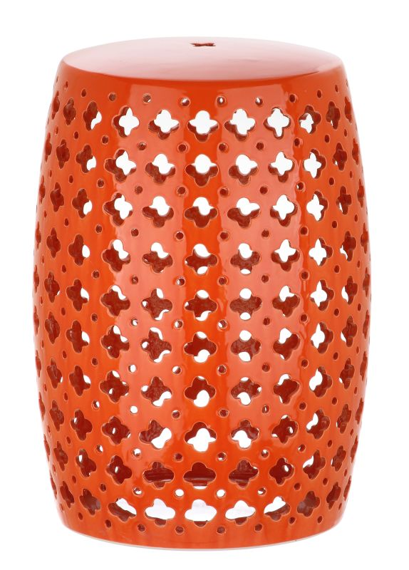 Safavieh ACS4531 Lacey Ceramic Garden Stool Orange Home Decor Garden