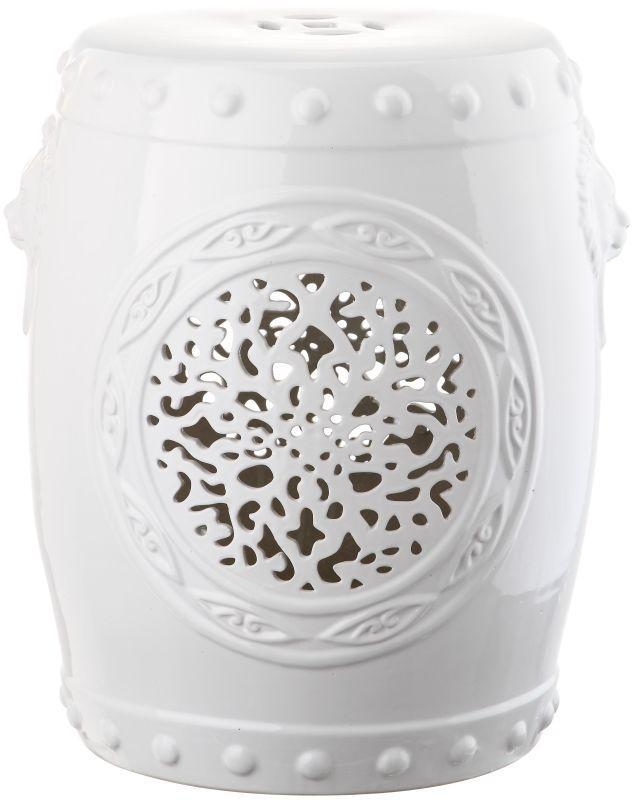 Safavieh ACS4532 Flower Drum Ceramic Garden Stool White Home Decor