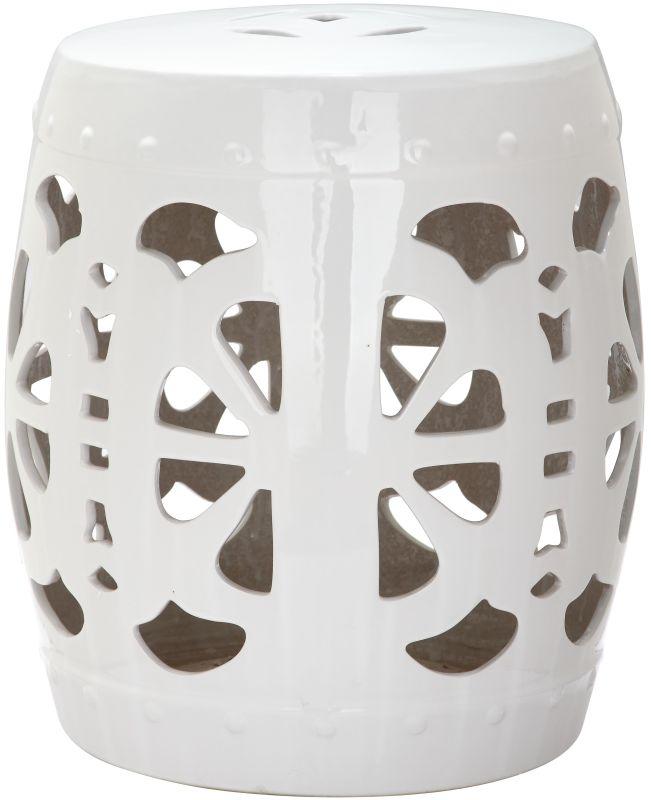 Safavieh ACS4536 Stencil Blossom Ceramic Garden Stool Antique White