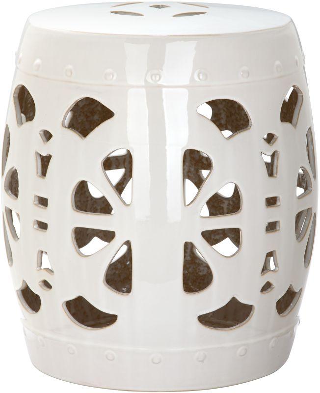 Safavieh ACS4536 Stencil Blossom Ceramic Garden Stool Cream Home Decor