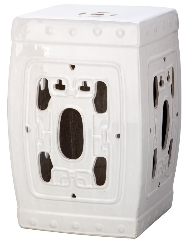 Safavieh ACS4537 Dynasty Filigree Ceramic Garden Stool Antique White