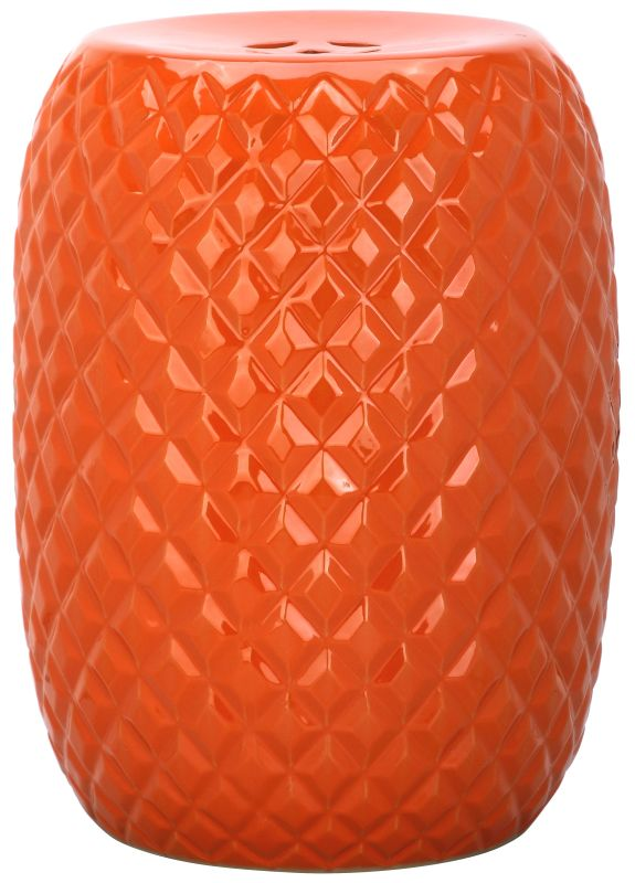 Safavieh ACS4549 Calla Ceramic Garden Stool Orange Home Decor Garden