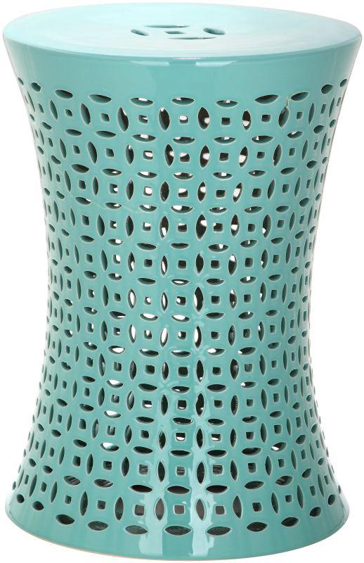 Safavieh ACS4550 Camilla Ceramic Garden Stool Aqua Home Decor Garden