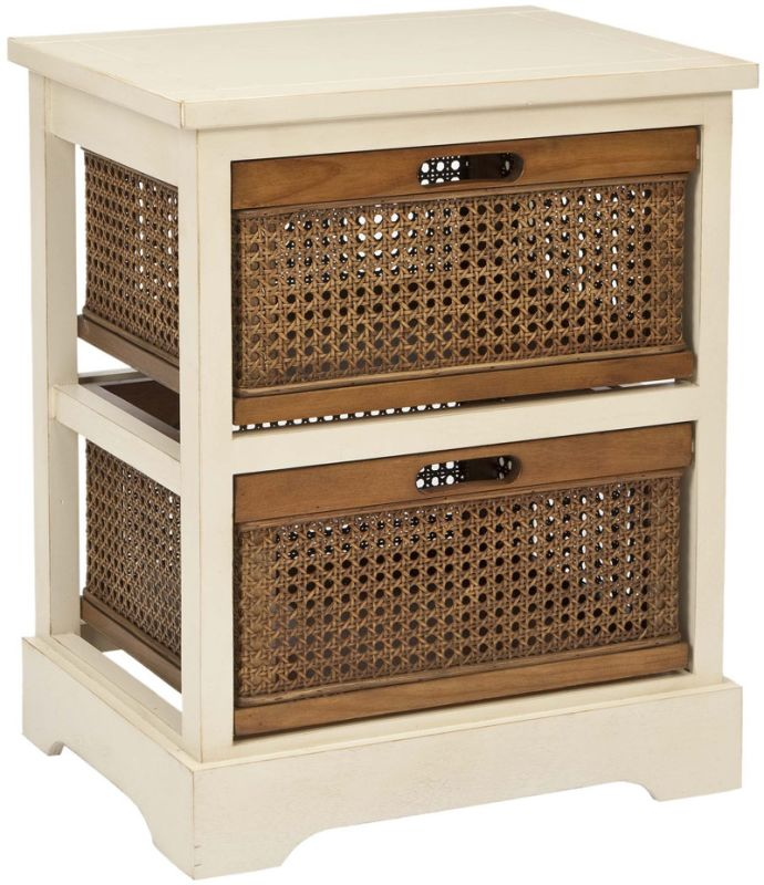 Safavieh AMH6503 Jackson 2 Drawer Storage Unit Barley / Cane Drawers