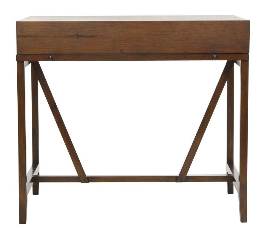 Safavieh AMH6509 Wyatt Writing Desk with Pull Out Dark Teak Furniture