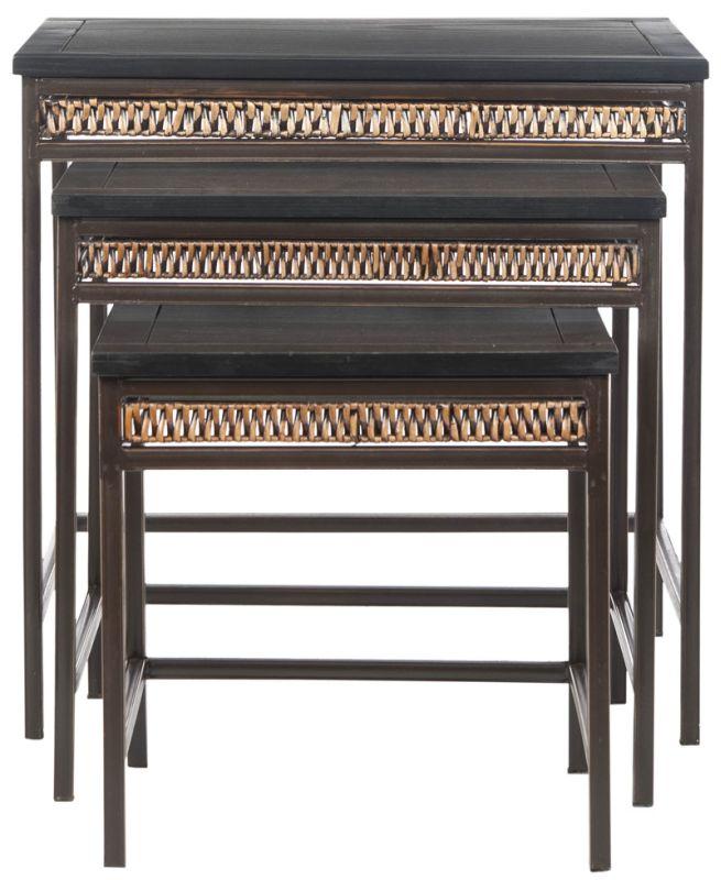 Safavieh AMH6555 Reed Stacking Tables Black Top / Dark Walnut