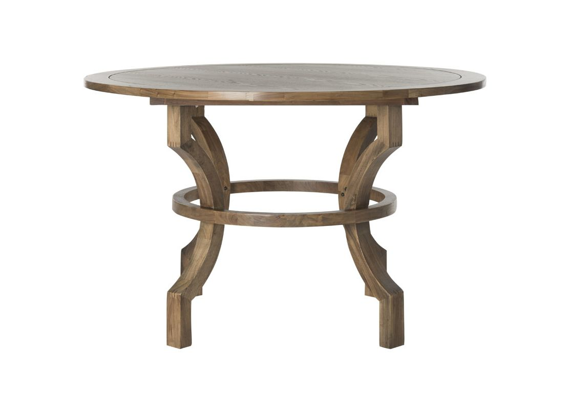 Safavieh AMH6644 Ludlow Round Dining Table Oak Furniture Dining Tables