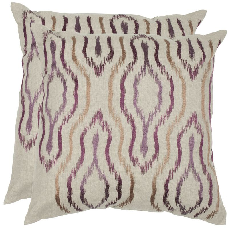 Safavieh DEC307A Square Plum Quinn Pillow with Feather Filling from