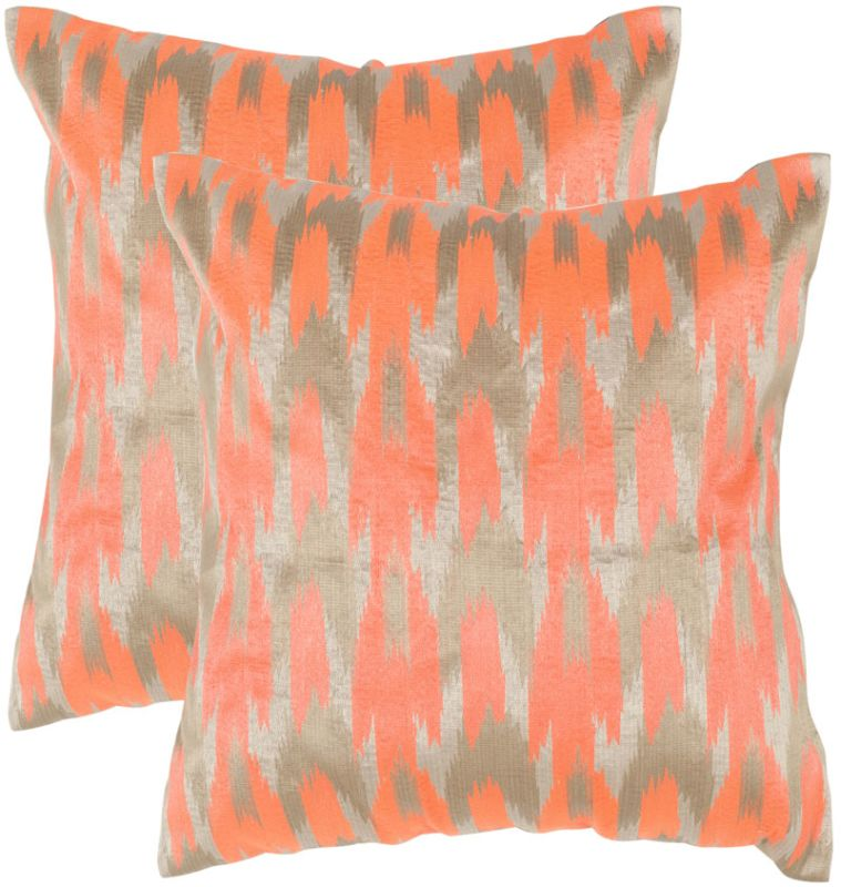 "Safavieh DEC455A Square 20"" x 20"" Neon Tangerine Boho Chic Pillow with"