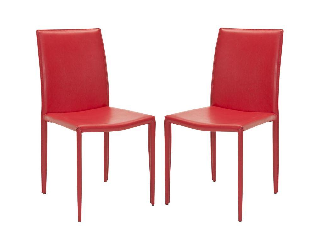 Safavieh FOX2009-SET2 Karna Dining Chair (Set of 2) Red Furniture