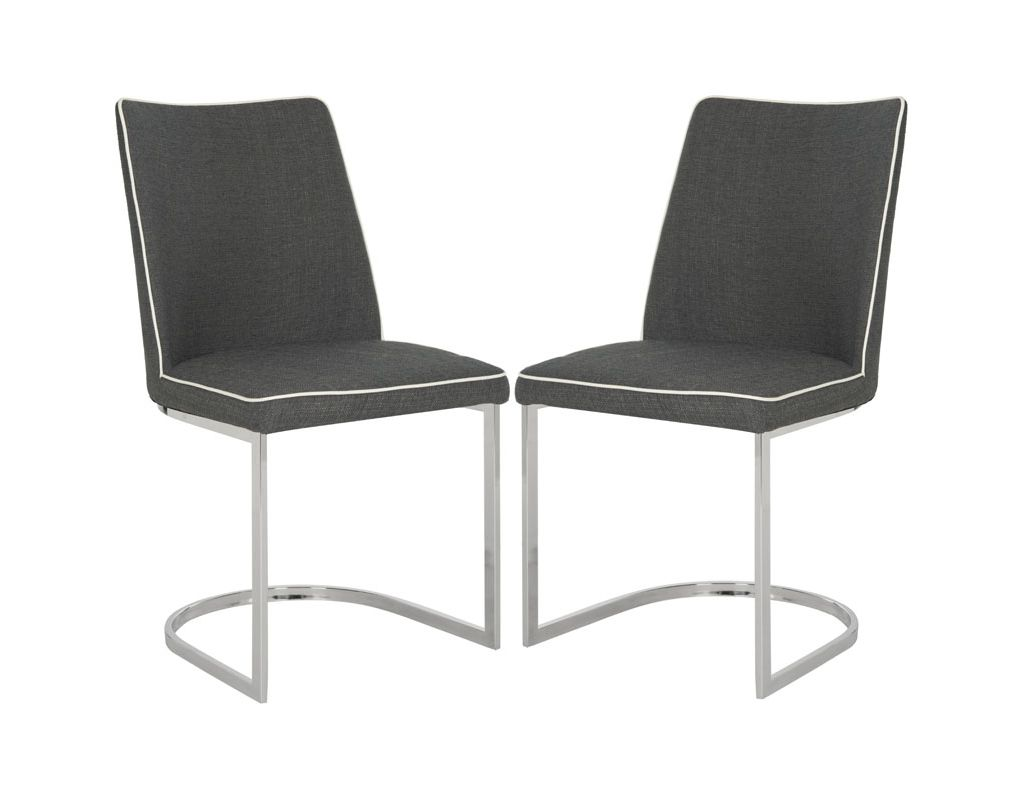 Safavieh FOX2013-SET2 Parkston Side Chair (Set of 2) Dark Grey and