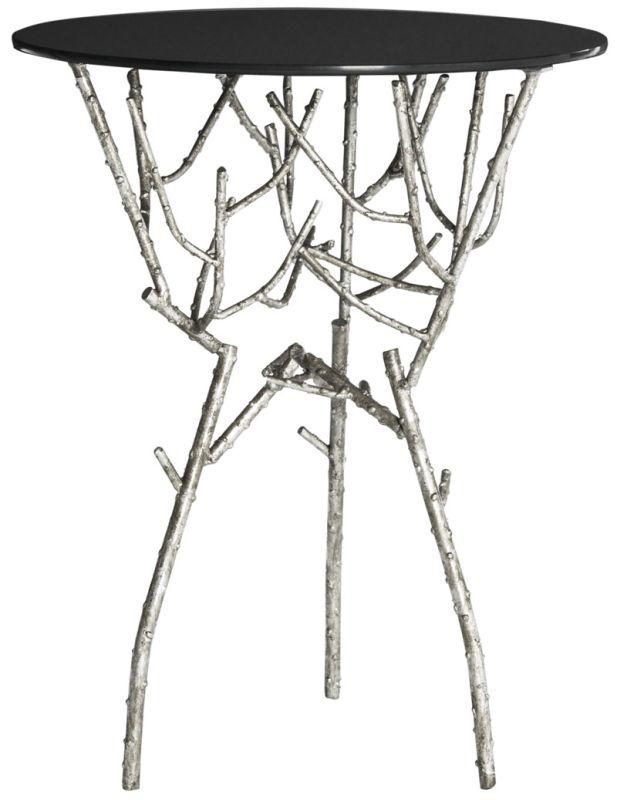 Safavieh FOX2520 Tara Accent Table Silver / Black Glass Top Furniture