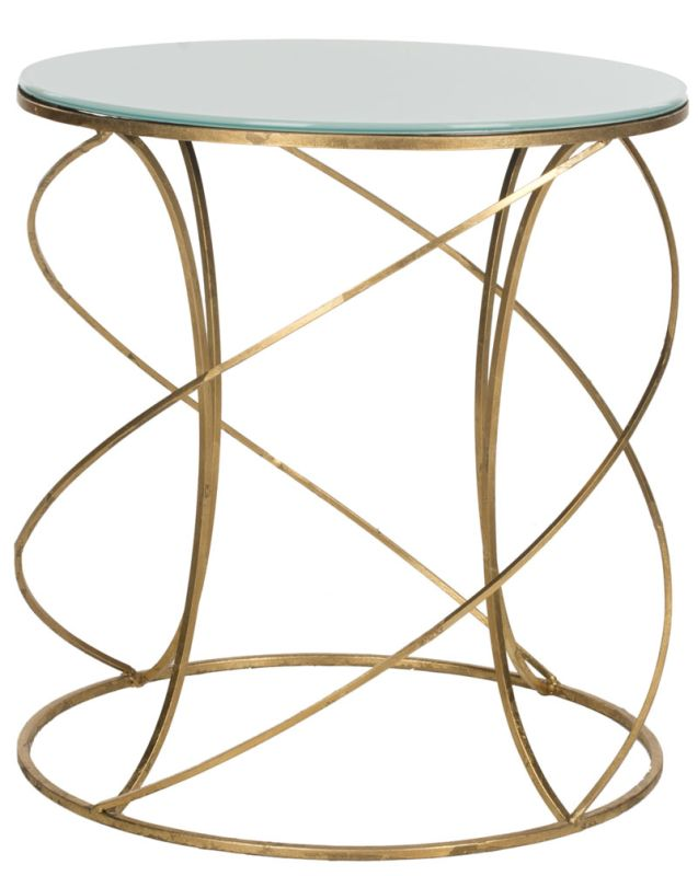Safavieh FOX2535 Cagney Accent Table Gold / White Glass Top Furniture