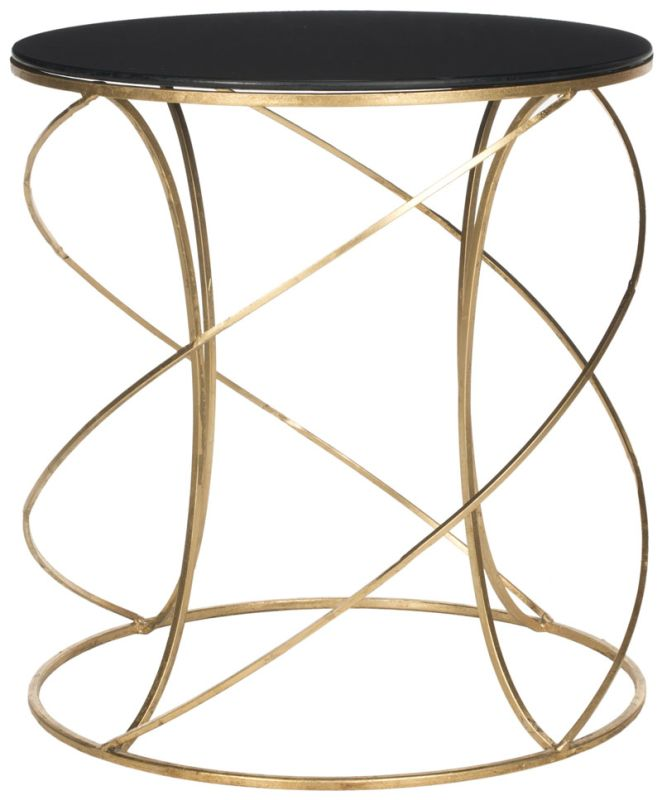 Safavieh FOX2535 Cagney Accent Table Gold / Black Glass Top Furniture