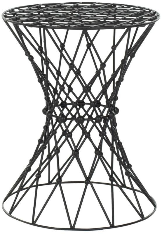 Safavieh FOX4501 Charlotte Iron Wire Stool Black Matt Epoxy Furniture