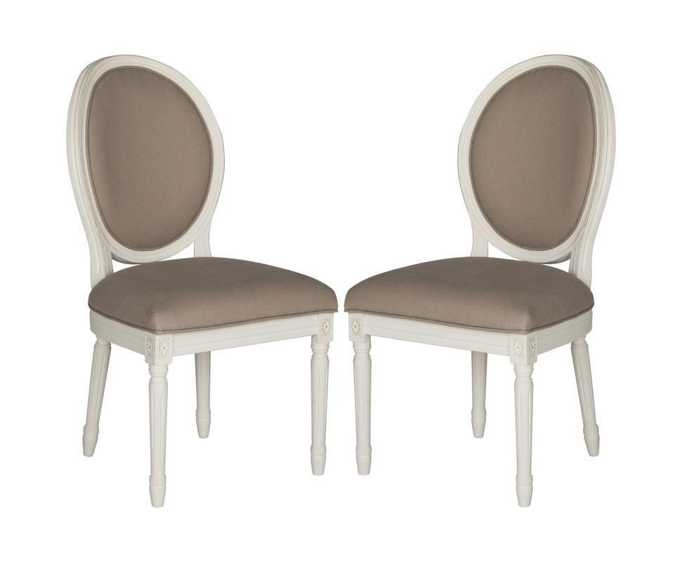 Safavieh FOX6228-SET2 Holloway Oval Side Chair (Set of 2) Taupe