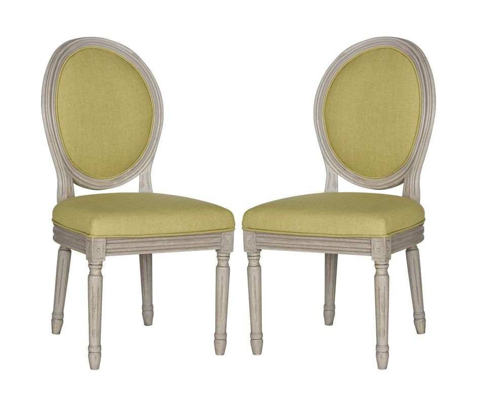 Safavieh FOX6228-SET2 Holloway Oval Side Chair (Set of 2) Spring Green -  FOX6228J-SET2