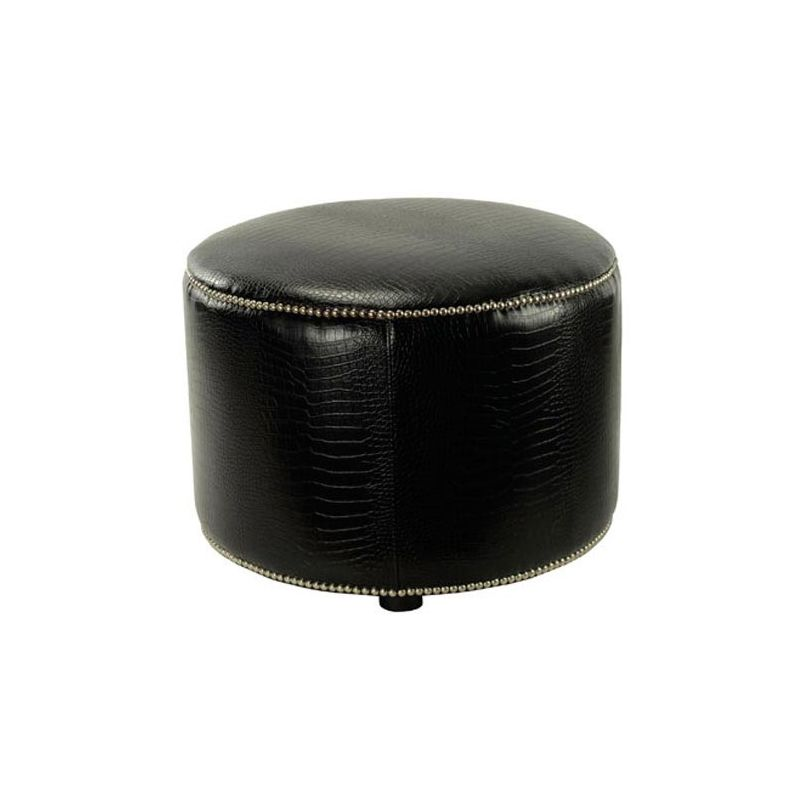 Safavieh HUD8208 Hogan Round Ottoman Black Croc Furniture Round