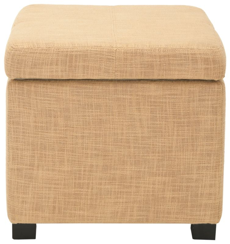 Safavieh HUD8228 Madison Square Ottoman Gold Furniture Square