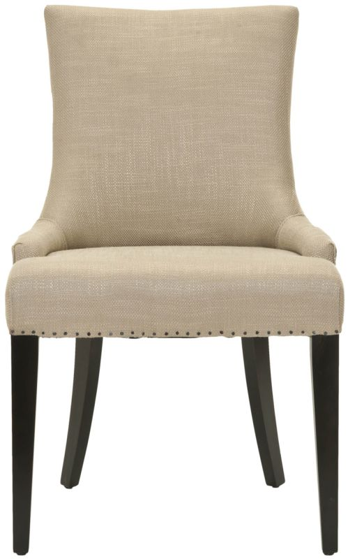 Safavieh Mercer Collection Eva Viscose and Leather Dining Chair with Trim Nail Head, Beige -  MCR4502F