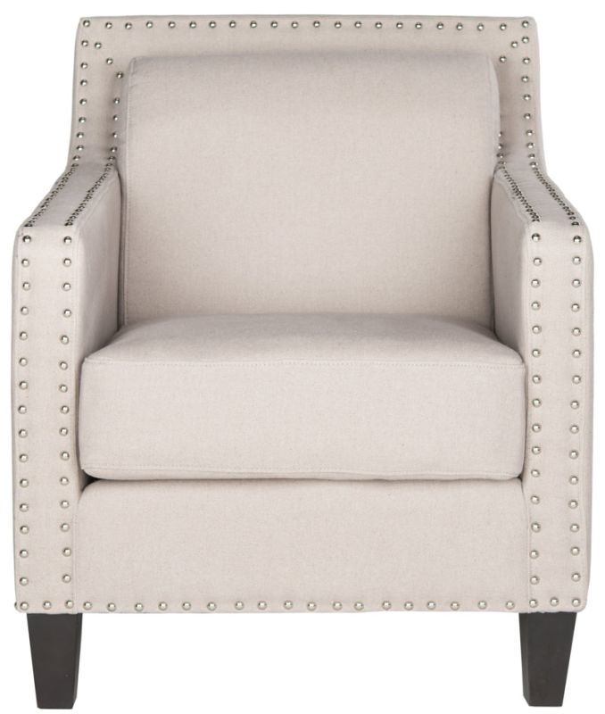 Safavieh MCR4549 Charles George Arm Chair Taupe Furniture Arm Chairs