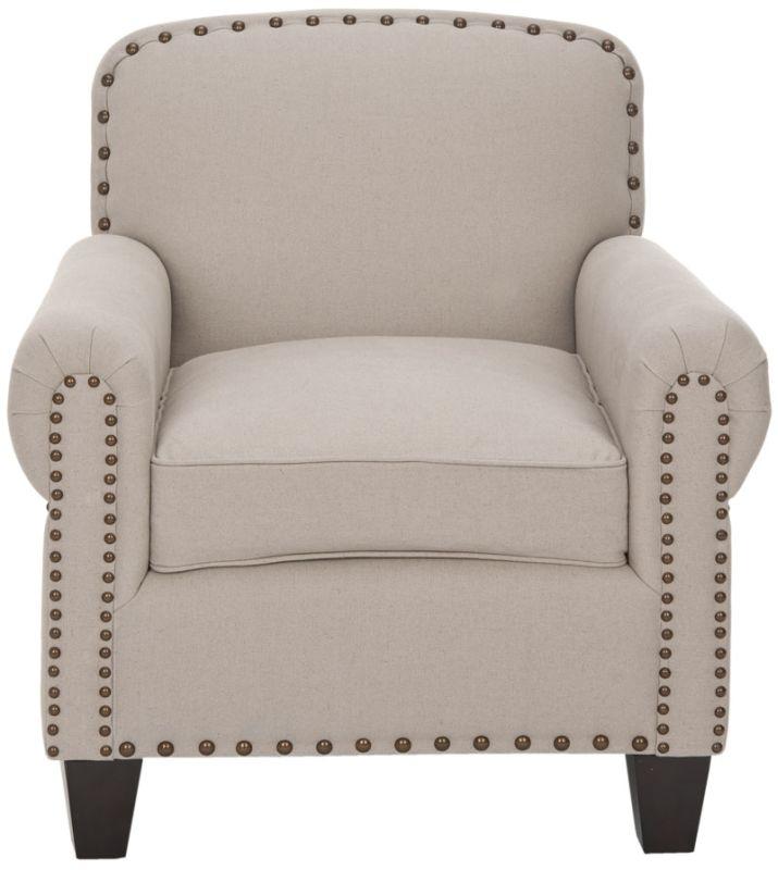 Safavieh MCR4573 Abigail Club Chair Taupe Furniture Arm Chairs