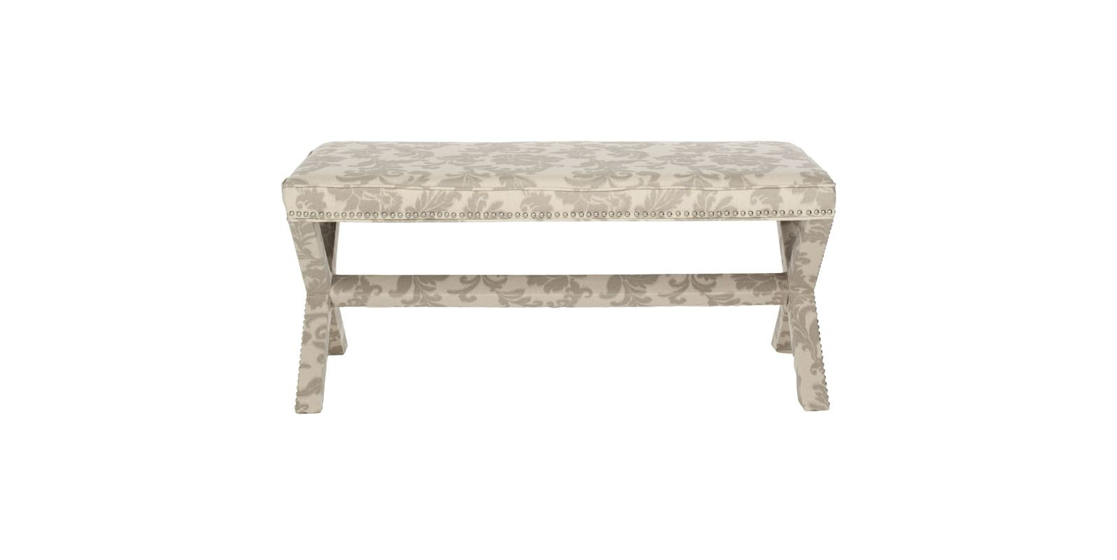 Safavieh MCR4617 Melanie Extended Bench Taupe and Beige Print