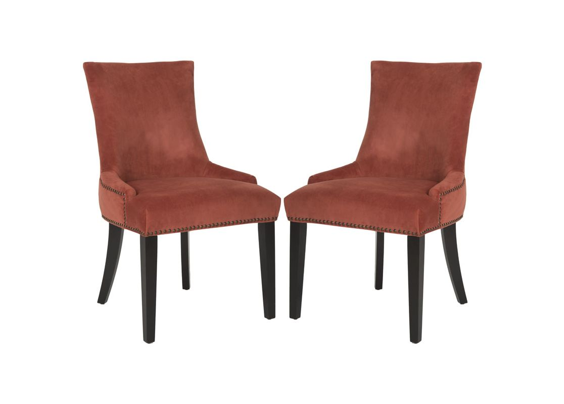 Safavieh MCR4709-SET2 Lester Dining Chair (Set of 2) Rust Furniture