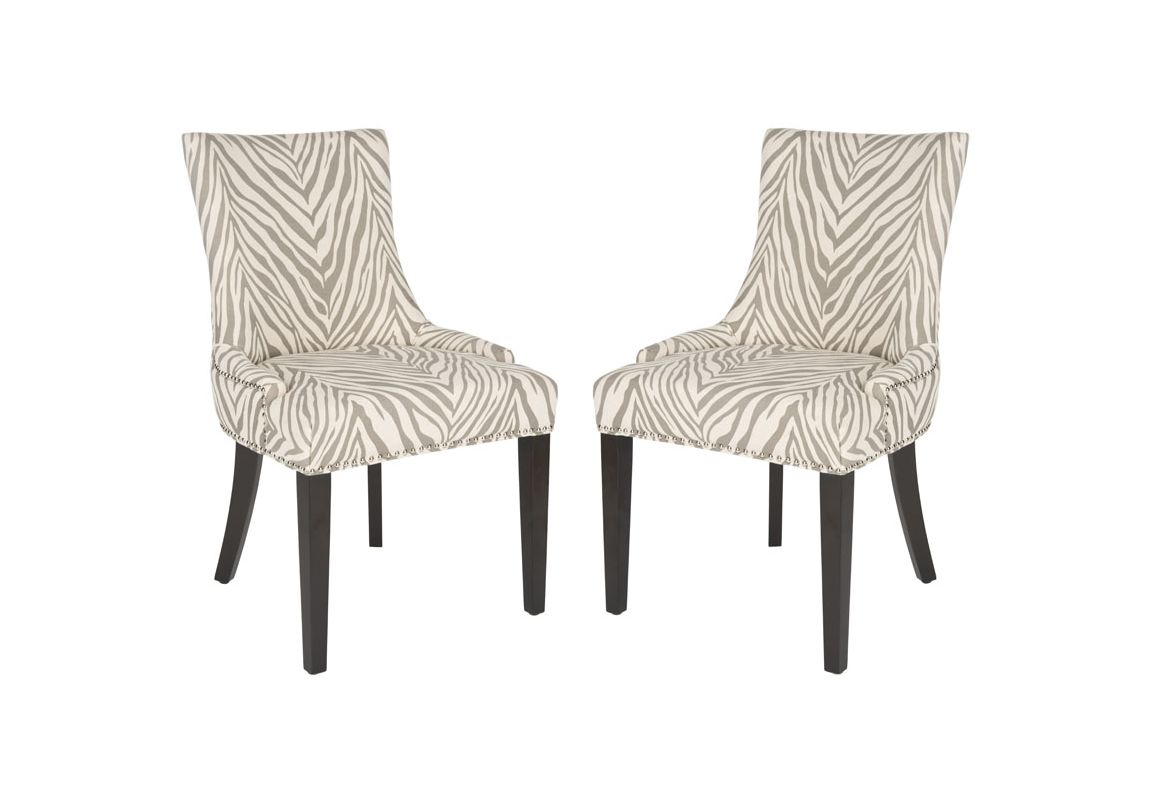 Safavieh MCR4709-SET2 Lester Dining Chair (Set of 2) Grey Zebra