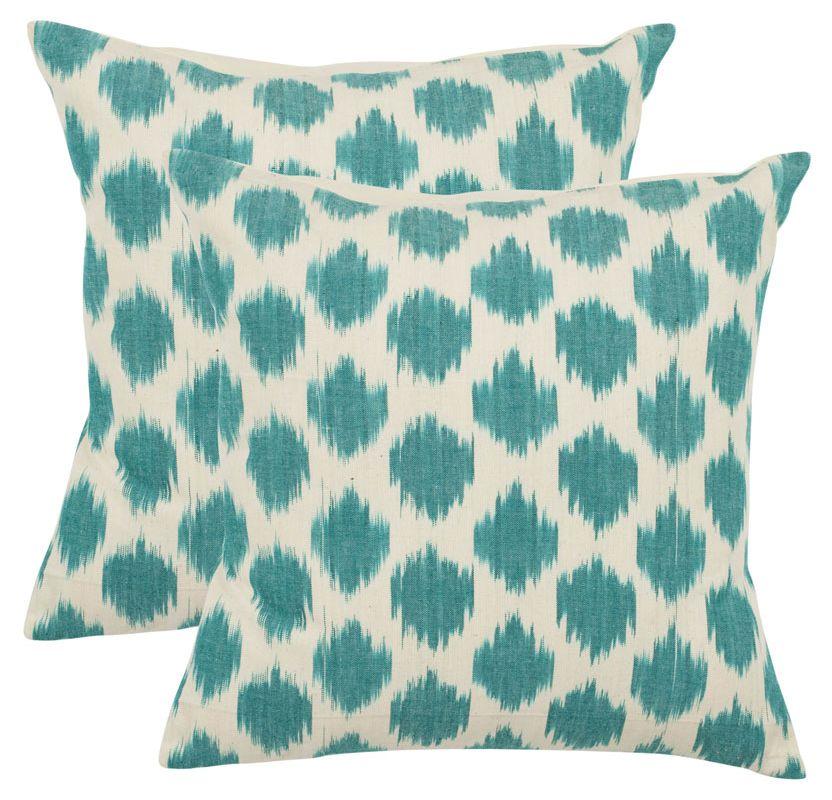 Safavieh PIL502A Rectangular Aqua Polka Dots Pillow from the Bohemian