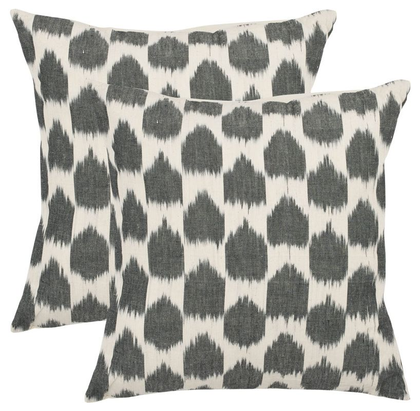 Safavieh PIL503A Rectangular Charcoal Polka Dots Pillow from the