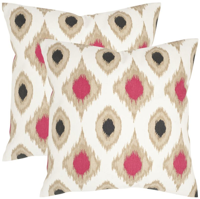 Safavieh PIL924A Square Taupe Miranda Pillow with Feather Filling from