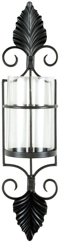 Safavieh WDC1012 Pillar Iron Candle Sconce Black Powder Coated Home