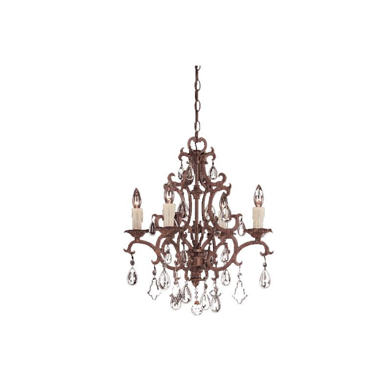 Savoy House 1-1400-4 Wrought Iron Four Light Up Lighting Chandelier