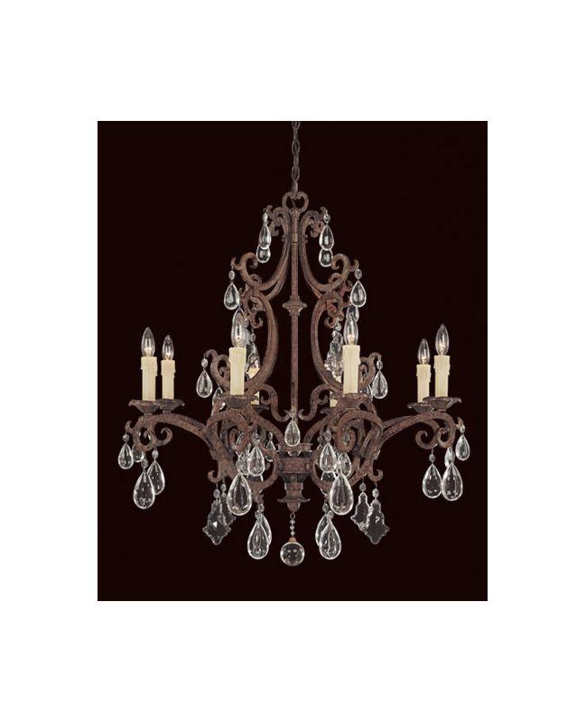 Savoy House 1-1401-8 Wrought Iron Eight Light Up Lighting Chandelier