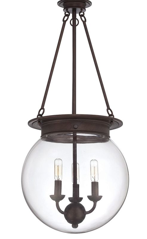 """Savoy House 7-3301-3 Glass Filament 3 Light 14"""" Wide Pendant Oiled"""