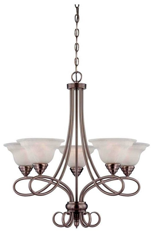 """Savoy House 1-120-5 Oxford 5 Light 27.5"""" Wide 1 Tier Chandelier Pewter"""