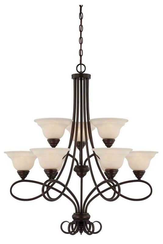"Savoy House 1-121-9 Oxford 9 Light 32"" Wide 2 Tier Chandelier English"
