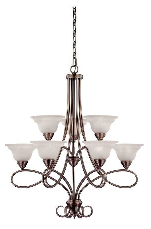 "Savoy House 1-121-9 Oxford 9 Light 32"" Wide 2 Tier Chandelier Pewter"