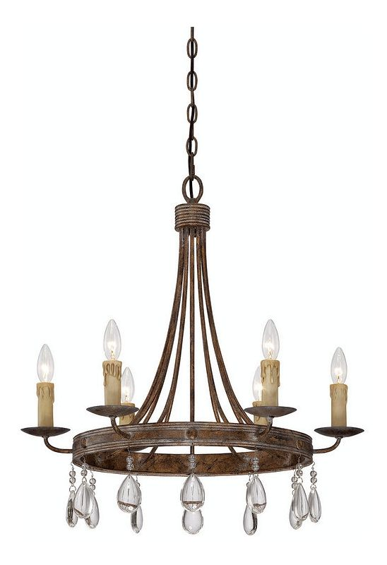 """Savoy House 1-200-6 Carlisle 6 Light 24.5"""" Wide 1 Tier Chandelier with"""
