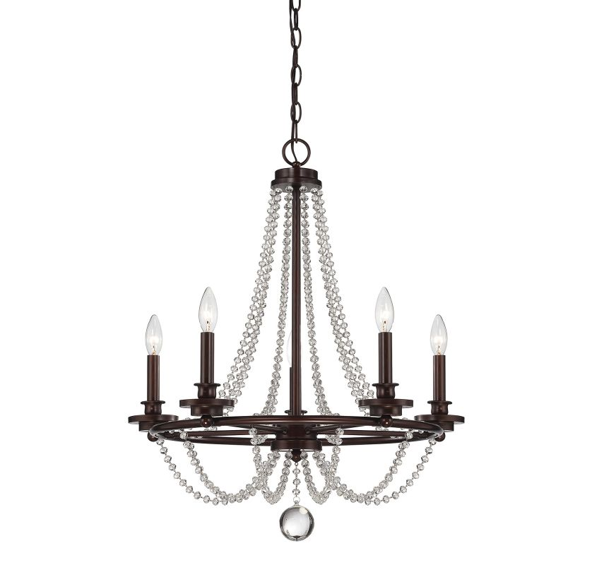 "Savoy House 1-8350-5 Byanca 5 Light 24"" Wide 1 Tier Chandelier Mohican"