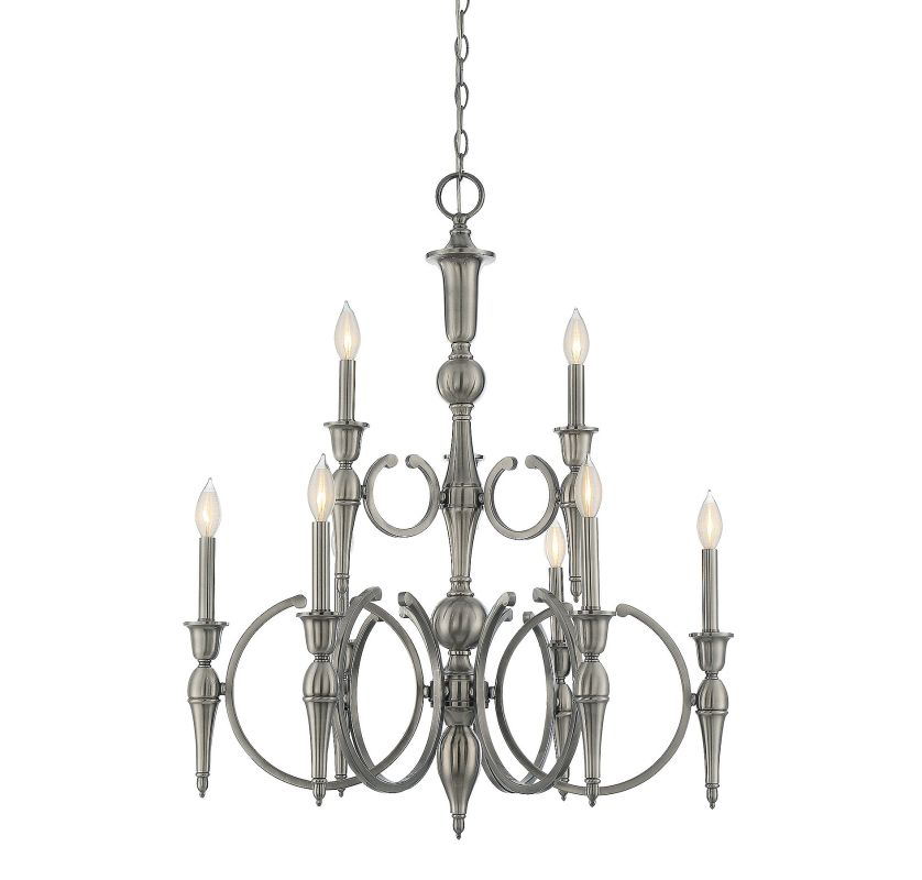 Savoy House 1-861-9 Shannon 9 Light Chandelier Polished Pewter Indoor