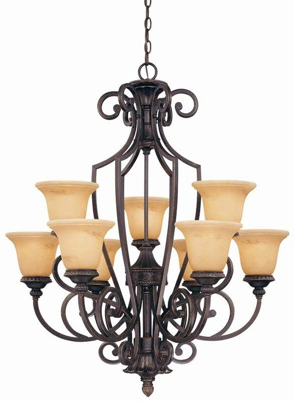 "Savoy House 1P-50203-9 Knight 9 Light 37.75"" Wide 2 Tier Chandelier"