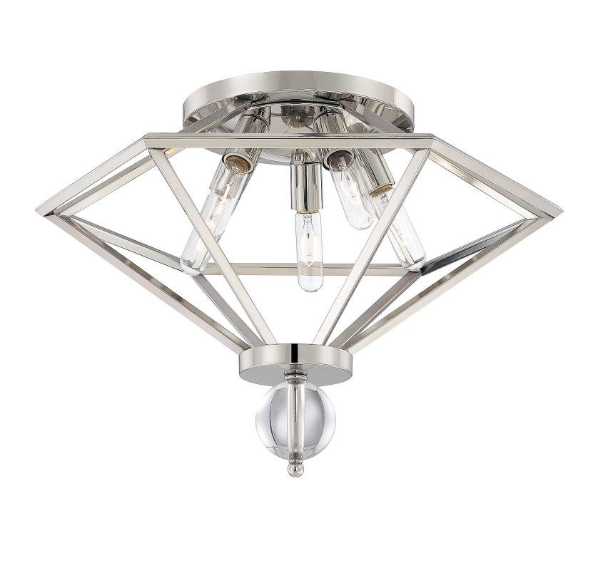 Savoy House 6-682-5 Tekoa 5 Light Flush Mount Ceiling Fixture Polished