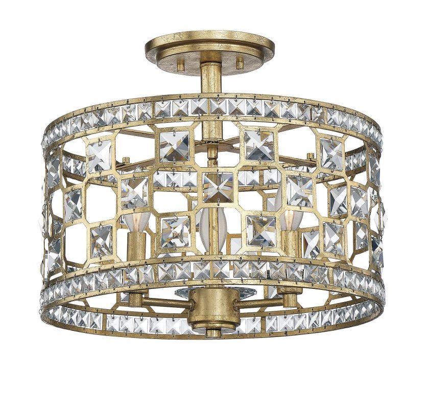 Savoy House 6-842-3 Clarion 3 Light Crystal Semi Flush Mount Ceiling