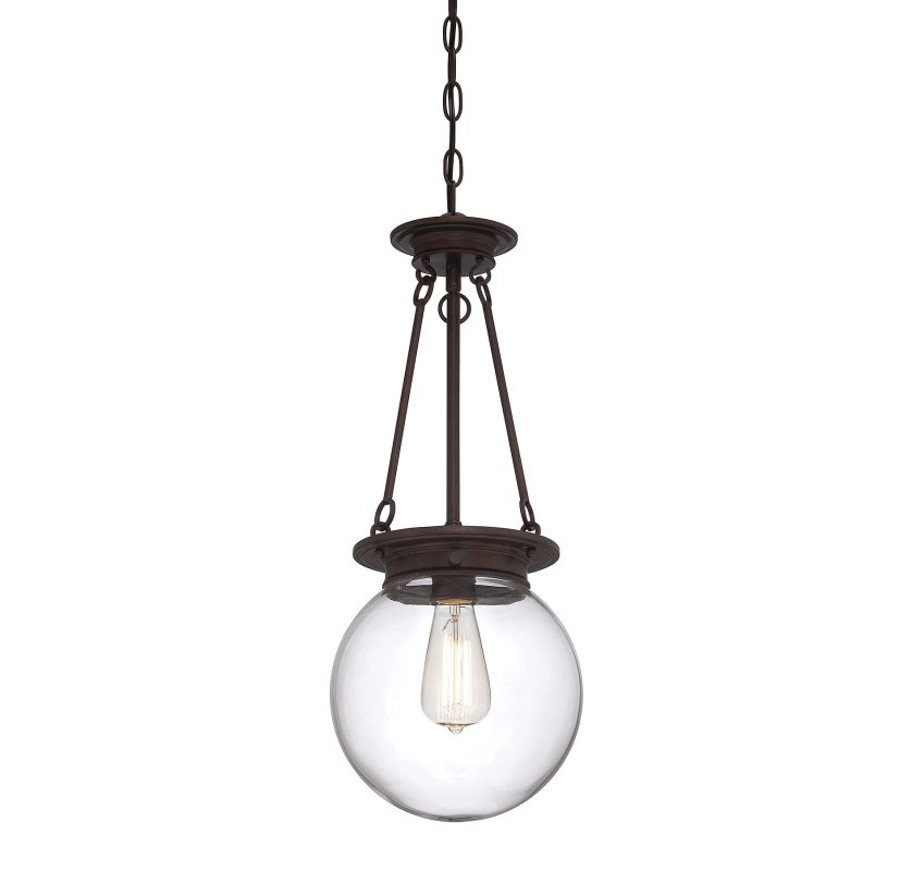 """Savoy House 7-3300-1 Glass Filament 1 Light 9"""" Wide Pendant Oiled"""