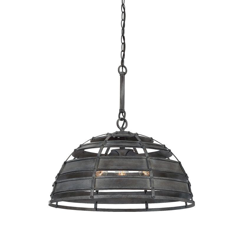 Savoy House 7-810-3 Malden 3 Light Pendant Raw Steel Indoor Lighting